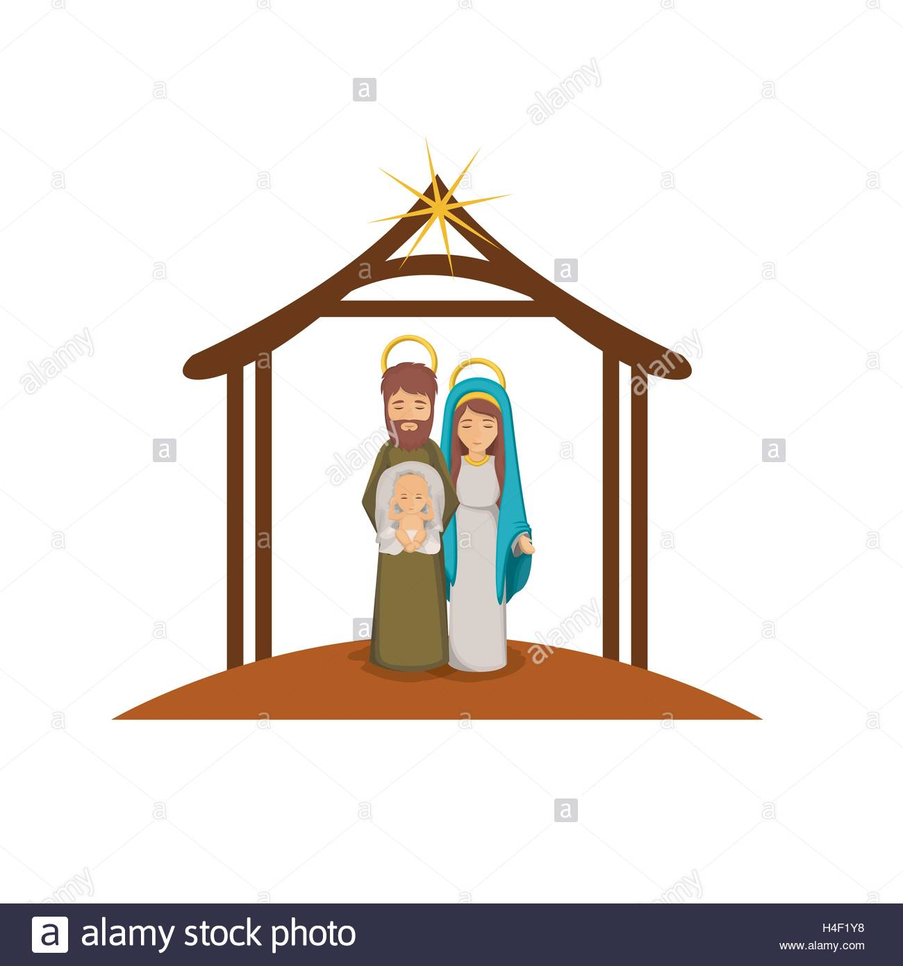 1300x1390 Joseph Mary And Baby Jesus Cartoon Design Stock Vector Art