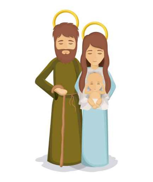 591x700 Mary And Joseph With Baby Jesus Icon. Holy Family And Merry