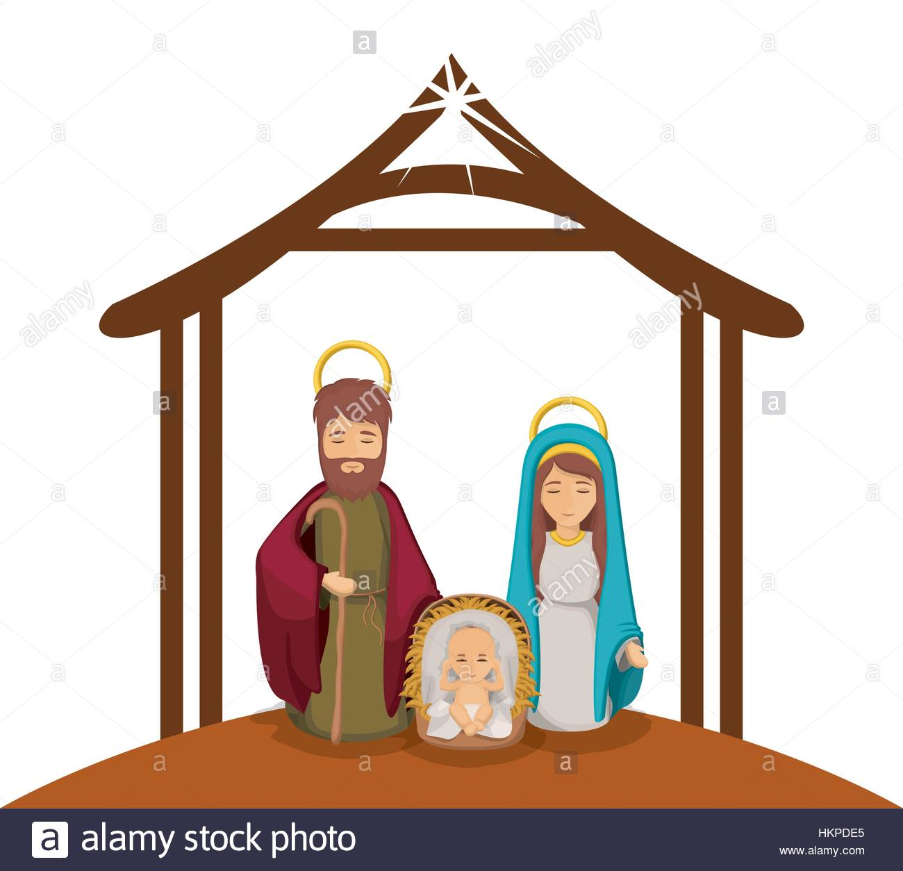1300x1254 Colorful Image With Virgin Mary And Saint Joseph And Jesus In Crib
