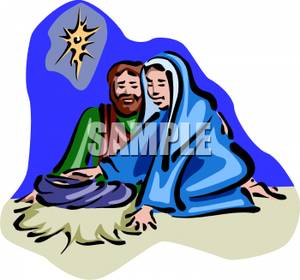 300x280 Clip Art Image Mary And Joseph With Newborn Jesus
