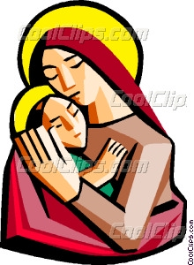 220x300 Mother Mary With Baby Jesus Vector Clip Art