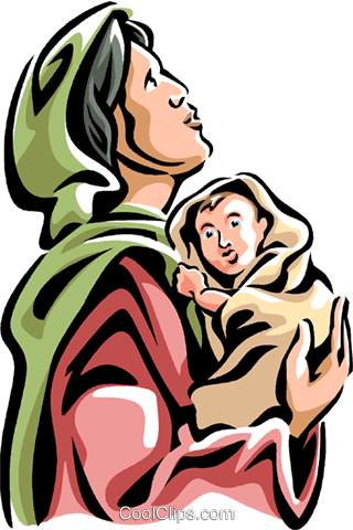 320x480 Virgin Mary With The Christ Child Royalty Free Vector Clip Art