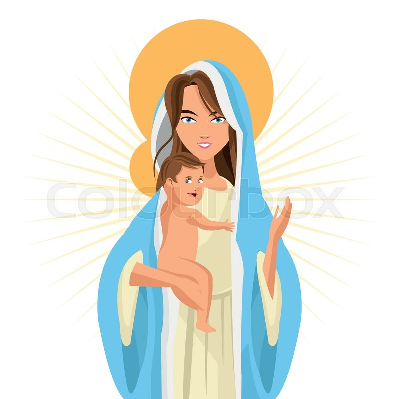 800x800 Baby Jesus And Mary Clip Art. Eps Vectors Of Religion Stamp
