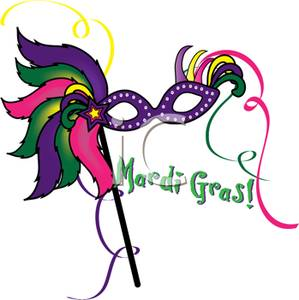 299x300 A Purple Masquerade Mask With Mardi Gras! Text Clipart Image