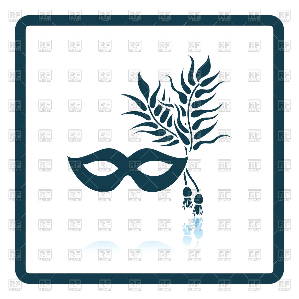 1200x1200 Two Masquerade Mask With Feather Royalty Free Vector Clip Art