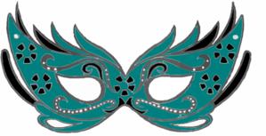 299x153 Teal Masquerade Mask Clip Art