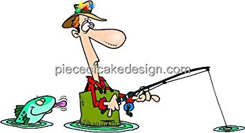 355x193 2 Round ~ Silly Fishing Clip Art Birthday ~ Edible Image Cake