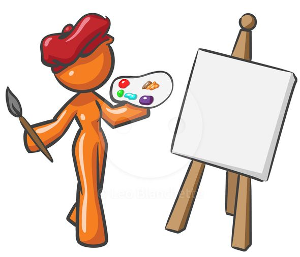 590x506 Clipart Illustration Creative Artist Orange Woman, Holding Palette
