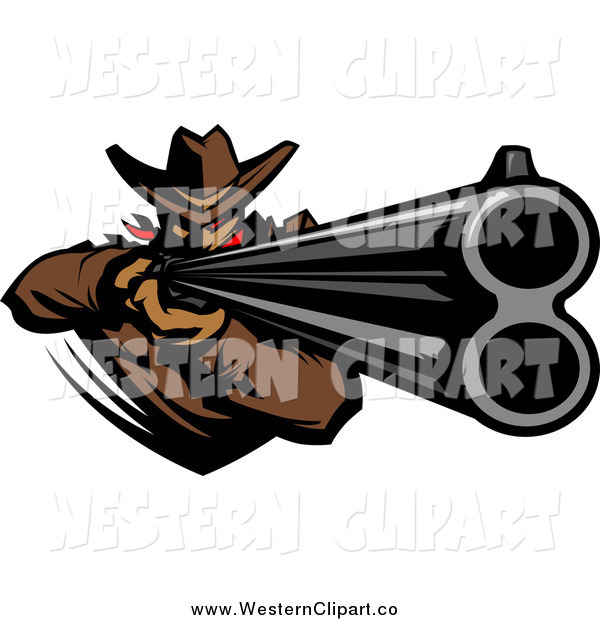 600x620 Clip Art Of A Western Cowboy Aiming A Rifle By Chromaco
