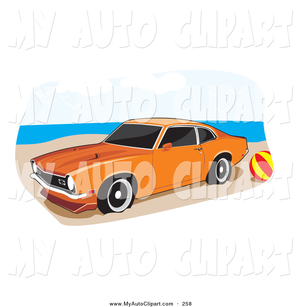 1024x1044 Clip Art Of An Orange 1972 Ford Maverick Muscle Car With Whitewall