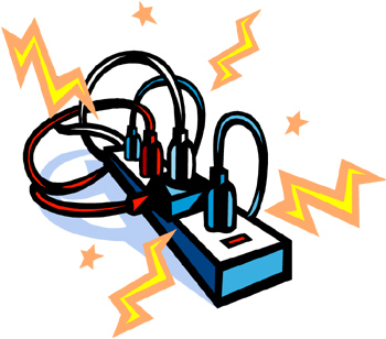 350x308 Electric Cord Safety Clip Art