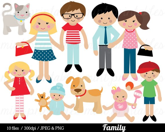 570x456 Family Clipart, Family Clip Art, Mom Mum Dad Cat Dog Baby Boy Girl