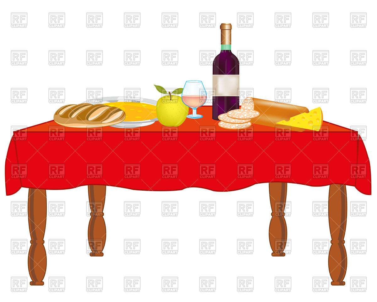 1200x960 Covered Table With Meal And Drink Royalty Free Vector Clip Art