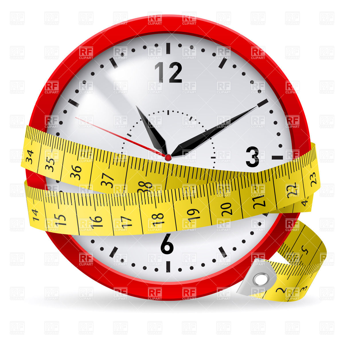 1200x1200 Clock With Measuring Tape Royalty Free Vector Clip Art Image