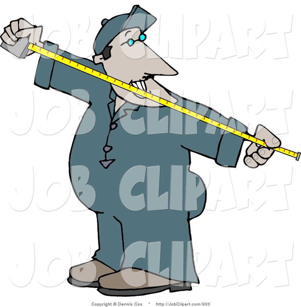 1024x1044 Job Clip Art Of A Worker Man Measuring Something With A Yellow
