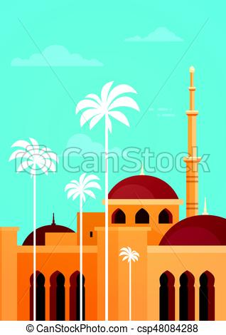 318x470 Muslim Cityscape Nabawi Mosque Building Religion Flat Vector