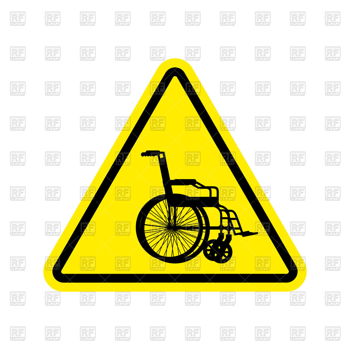1200x1200 Warning Invalid Caution Wheelchair On Road Sign Royalty Free
