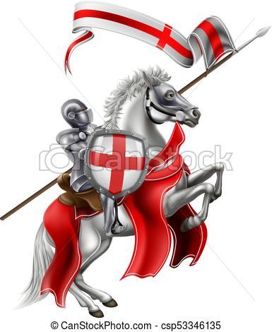 385x470 Saint George Medieval Knight On Horse. St George Patron Vectors