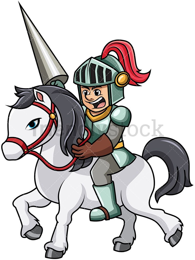 800x1067 Knight Charging With Horse Cartoon Vector Clipart