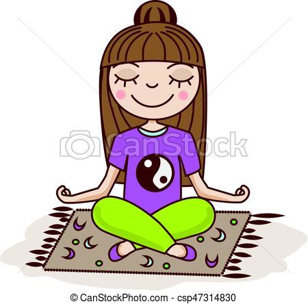 450x444 Girl Doing Yoga. Woman Sitting In Half Lotus Pose. Hand Vectors