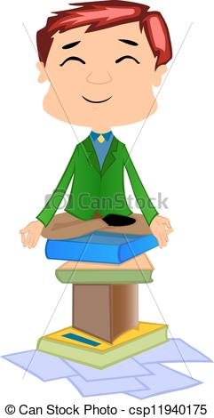 241x470 Working Man Doing Meditation, Illustration. Working Man Vectors