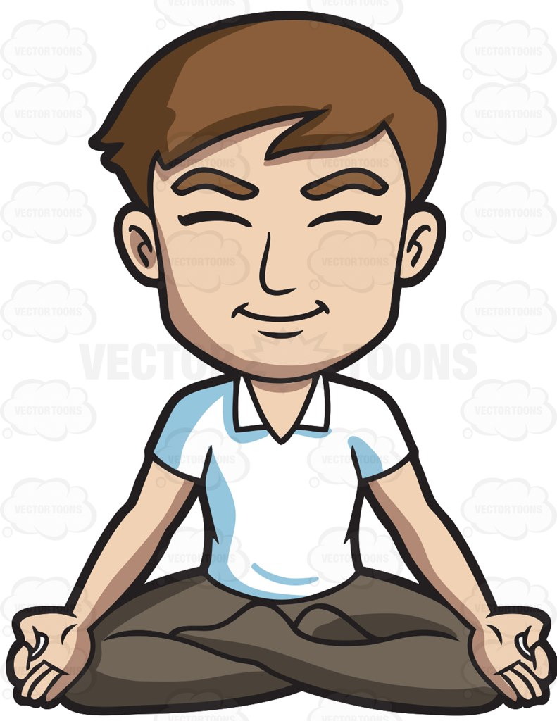 791x1024 A Happy Man Meditating With His Legs Crossed Cartoon Clipart