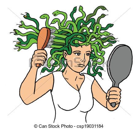 450x421 Medusa. Bad Hair Day Vector