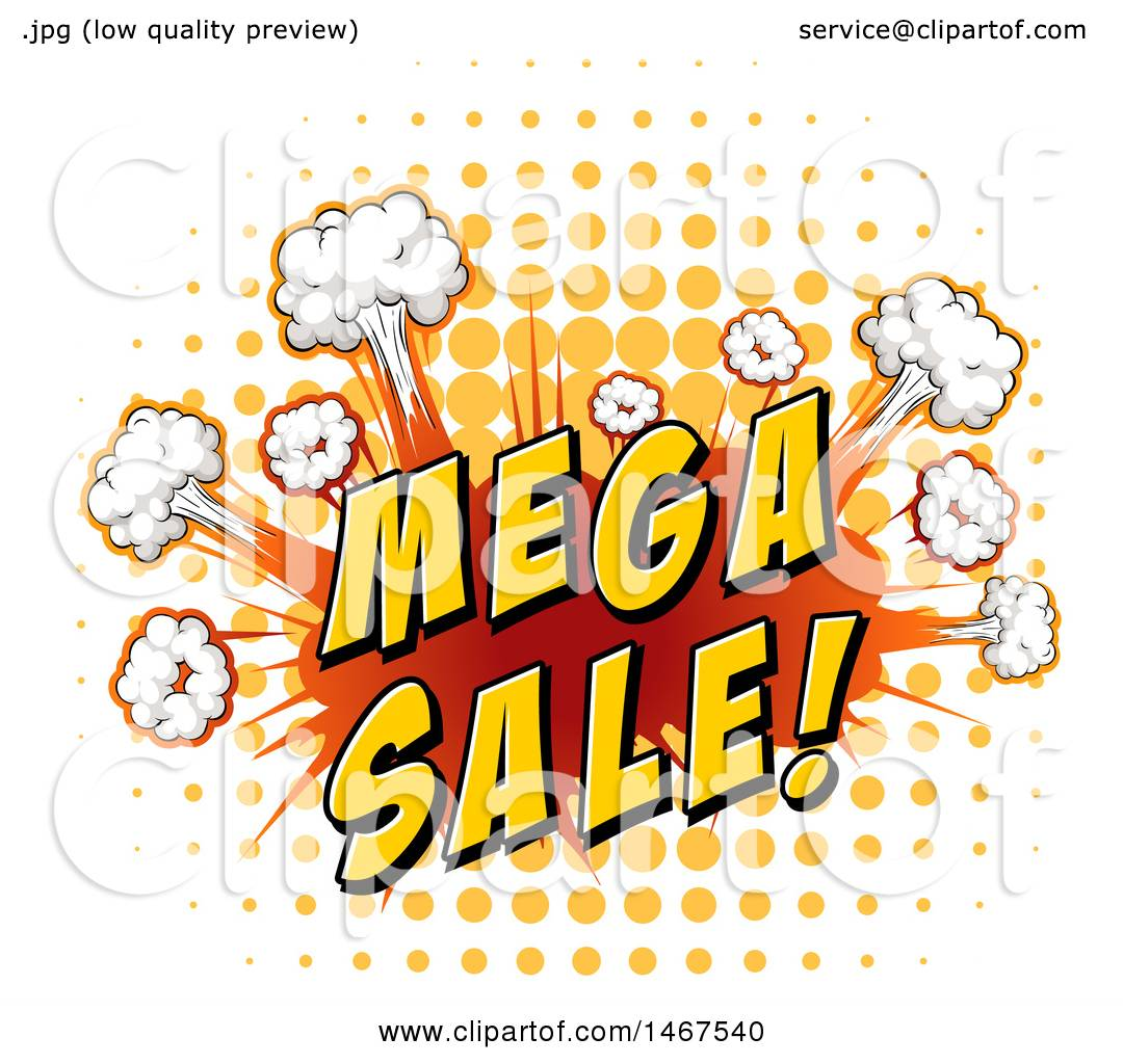 1080x1024 Clipart Of A Comic Styled Puffs With Mega Sale Text Over Halftone
