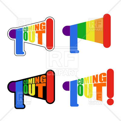 400x400 Coming Out Lgbt Sign Message. Rainbow Megaphone Icon. Royalty Free