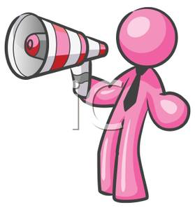 279x300 A Pink Man In A Tie Yelling Through A Megaphone Clip Art Image