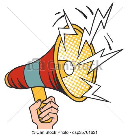 450x470 Pop Art Megaphone Design Loudspeaker Cartoon Illustration