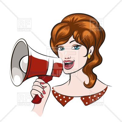 400x400 Beautiful Woman With Megaphone In Pin Up Style. Royalty Free