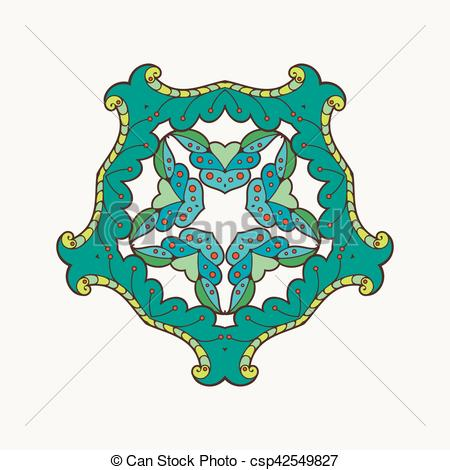 450x470 Vector Mandala. Mehndi Lace Tattoo. Oriental Weave With Vector