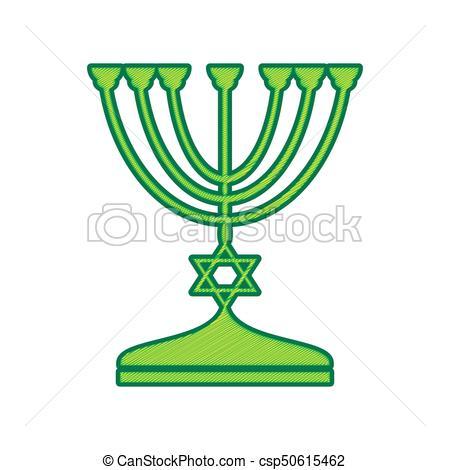450x470 Jewish Menorah Candlestick In Black Silhouette. Vector . Clip