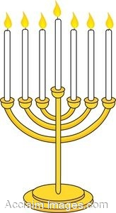 164x300 Brass Menorah With Lit Candles