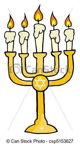 262x470 Chanukah Golden Menorah Vectors Illustration
