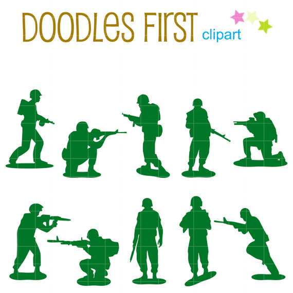 570x570 Little Army Men Silhouette Digital Clip Art For Scrapbooking