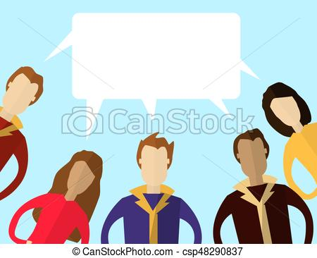 450x366 Mens And Women With Speech Bubbles. Teem Work, Communication