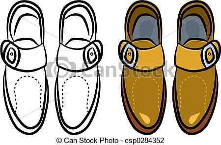 450x296 Mens Shoes. A Pair Of Generic Style Male Shoes Clip Art