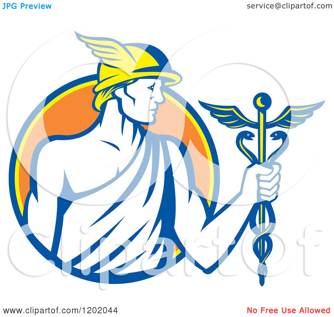 1080x1024 Clipart Of A Retro Roman God Mercury With A Caduceus In An Orange