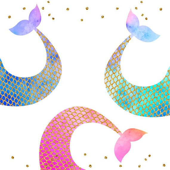 570x570 Mermaid Tail Clip Art,digital Clipart