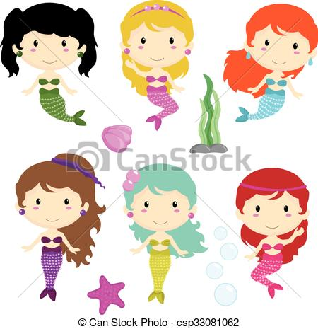 450x465 Mermaid Girls And Underwater Collection Clip Art Vector