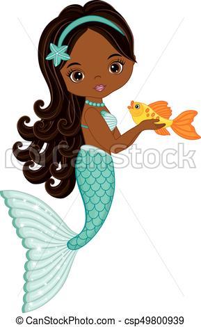 289x470 Vector Cute Little Mermaid With Fish. Vector African Vectors