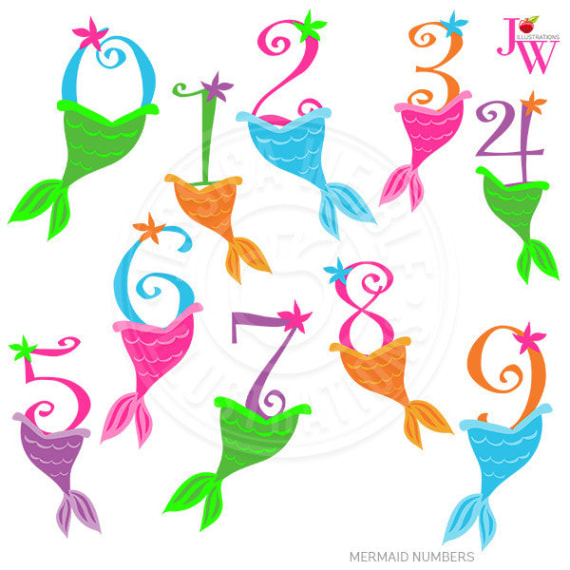 570x570 Mermaid Numbers Cute Digital Clipart Numbers With Mermaid
