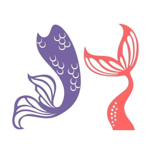 600x600 Mermaid Tail Cuttable Design Cut File. Vector, Clipart, Digital