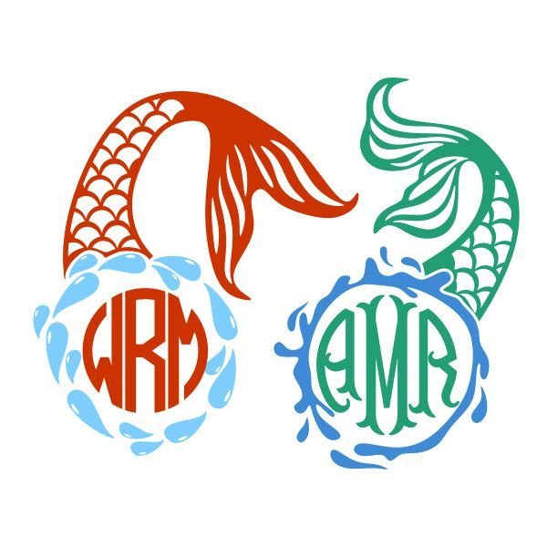 600x600 Mermaid Tail Water Splash Monogram Cuttable Frame Cut File. Vector
