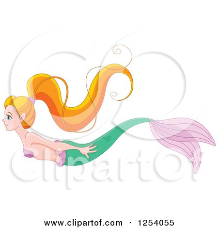 450x470 Clipart Of A Pretty Green Haired Mermaid With A Blue Tail