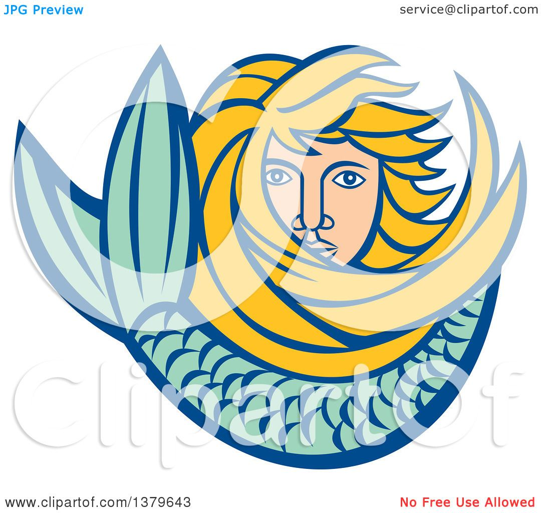 1080x1024 Clipart Of A Retro Blond Female Mermaid With Long Hair And A Tail