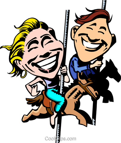 405x480 Couple On The Merry Go Round Royalty Free Vector Clip Art