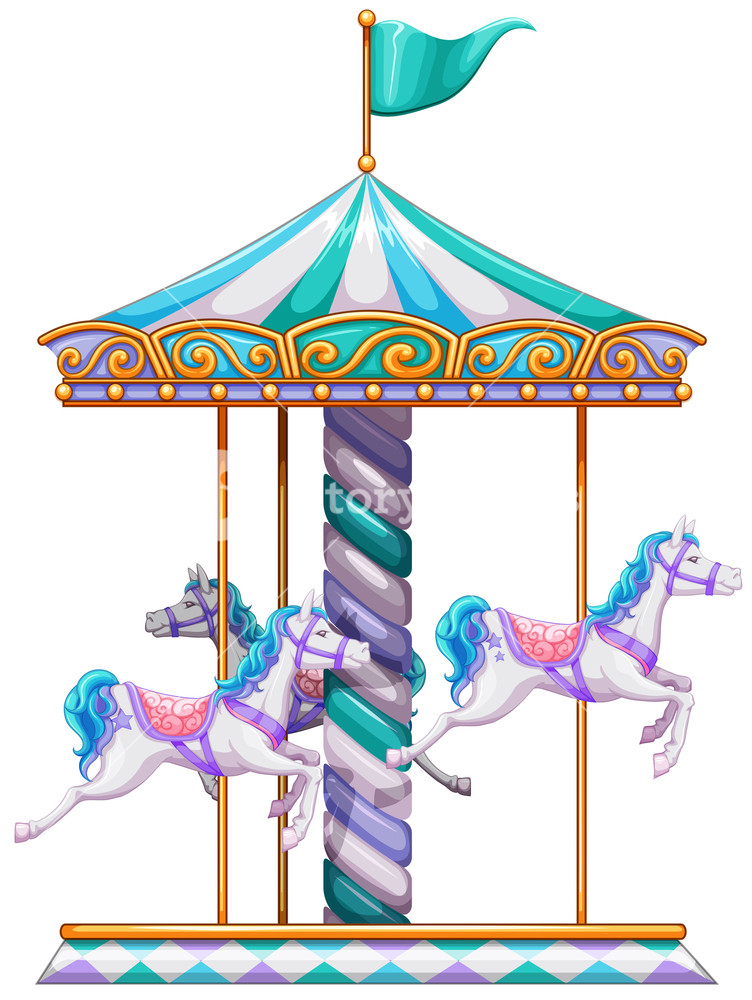 752x1000 Illustration Of A Close Up Merry Go Round Royalty Free Stock Image